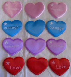 Valentine's Day Silky Puffy Hearts Red Pink Blue Lilac 12 Pce Lot Craft Embelish #Unbranded