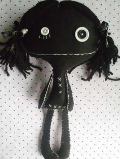 Little Black Goth Rag Doll Ooak Collectable Cloth Art by MyWillies Ugly Dolls, Creepy Dolls, Fabric Dolls, Paper Dolls, Rag Dolls, Art Christmas Gifts, Zombie Dolls, Monster Dolls, Gothic Dolls
