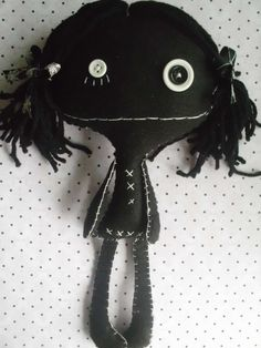 Little Black Goth Rag Doll Ooak Collectable Cloth Art by MyWillies