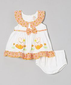 Loving this Lele for Kids Orange Bunny Dress & Diaper Cover - Infant on #zulily! #zulilyfinds