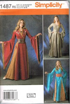 Simplicity 1487 Game of Thrones Renaissance Medieval Costume Dress Gown Sewing Pattern. Pattern 1487 is UNCUT and in factory folds. Size 12 which will fit a 30 bust. Game Of Thrones Dress, Game Of Thrones Costumes, Game Thrones, Medieval Costume, Medieval Dress, Fantasy Costumes, Cosplay Costumes, Cosplay Ideas, Larp