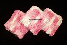 Crochet Dishcloths/Washcloths Pink And White by scentsnmore4u, $10.00
