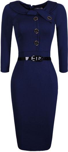 jeansian Women's Elegant Child Doll Collar Gowns Bodycon Pencil Dress with Belt WKD189