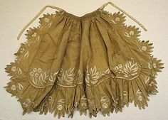 Apron  Date: 1800–1850   Culture: American or European Medium: silk   Dimensions: Length at CF: 23 in. (58.4 cm)   Credit Line: Purchase, Irene Lewisohn Bequest, 1985 Accession Number: 1985.222.1