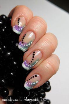 Abstract nail art, #ablecs15, french manicure, distressed nail art, dotting tool, Gosh Splish Splash, Kiko 331
