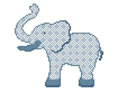 Baby Boy Elephant in blue – A set of three Cross Stitch Patterns in PDF