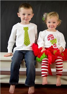 Matching Christmas outfits for boy & girl