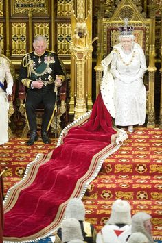 Queen Elizabeth II and Prince Charles at the House of Lords.