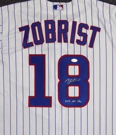 90fc2a10462 Chicago Cubs Ben Zobrist Autographed White Majestic Cool Base Jersey