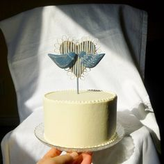 Unique and Rustic Wedding Cake Topper  by WoodenHeartButtons, $38.00