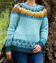 Foxy Sweater Knitting Pattern - Love this cute fairisle style!