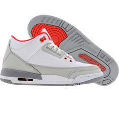 Air Jordan 3 Retro (white / crimson / neutral grey / wolf grey) 441140-101 - $99.99