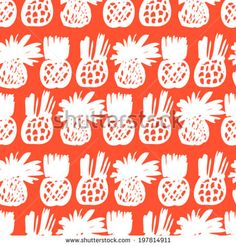 Vector Seamless Ditsy Pattern With Hand Drawn Pineapples And Silhouettes Of Monstera Leaf Plants In Bright Color And Grunge Tropical Style. - 197830334 : Shutterstock