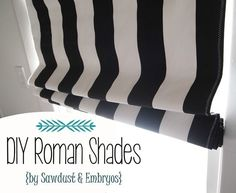 DIY Roman Shades from @Beth J J @ Sawdust and Embryos using OnlineFabricStore Premier Prints fabric and black-out lining.