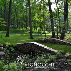 If you can't make it to Augusta then bring Augusta to you. We designed and built this bridge to connect two sides of a dry creek bed that gets inundated with w… Lake Geneva Wisconsin, Dry Creek Bed, Bridge, Landscape, Water, Plants, Beauty, Gripe Water, Scenery