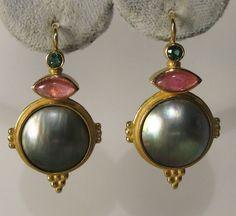 Designer Barbara Heinrich 18K YG Pink Green Tourmaline Mabe Pearl Dangle Earring #BarbaraHeinrich #DangleEarrings