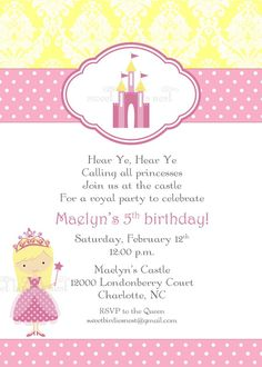 princess party invitation and other printables