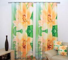Zelené závěsy na okno se žlutými liliemi Curtains, Shower, Prints, Lily, Rain Shower Heads, Blinds, Showers, Draping, Picture Window Treatments