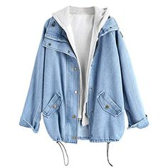 1d53dcdf6db Women's Denim Jackets and Hooded Vests Casual Boyfriend Trends Jean Swish  Pockets Two Piece Oversized Outwear