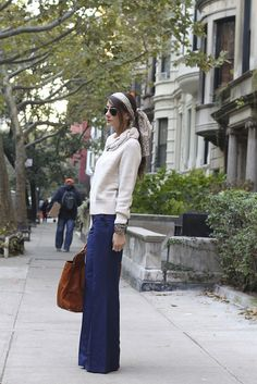 I want to wear this outfit now.  Wide leg pants, comfy sweater, scarf in hair.