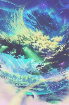 ✮ ANIME ART ✮ anime scenery. . .sky. . .galaxy. . .stars. . .planet. . .clouds. . .storm. . .lighting. . .ocean. . .water. . .rainbows. . .glowing. . .surreal.  . .fantasy. . .amazing detail. . .kawaii