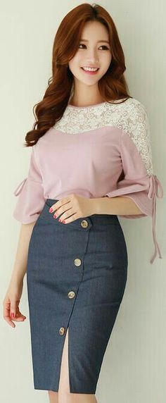 """Love the """"Retro"""" vibe of the skirt with big Brass button trim - different top tho"""