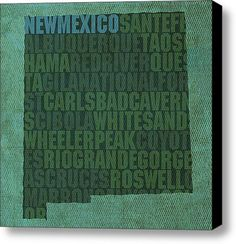 New Mexico Word Art State Map On Canvas Stretched Canvas Print / Canvas Art By Design Turnpike