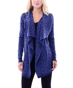 Maglia Blue Lapel-Collar Cardigan | zulily  . $24.99 Compare at $98.00  .  size: size chart S . M . L . XL . Product Description:  Bring cozy charm to layered looks with this cozy cardigan. This snug essential for cold-weather days features a warm knit design for all-day comfort.      Knit  .     60% cotton / 40% polyester  .     Machine wash; hang dry  .     Imported