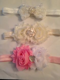 Shabby Flower Headbands  www.facebook.com/justaboutbows