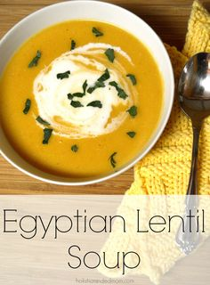 When the temperatures dip, shadows are long, and the days are shortened, we all start to crave warm comfort foods. Egyptian Lentil Soup is a great recipe for this time of year. Great Recipes, Soup Recipes, Vegetarian Recipes, Cooking Recipes, Lentil Recipes, Dessert Recipes, Interesting Recipes, Dessert Food, Lebanese Recipes