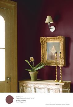 Iconic and captivating. #BenjaminMoore New London Burgundy HC-61 with Aura, eggshell finish (wall).