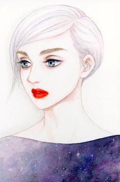目撥 ショートヘア ビューティアニメ セクシーな赤い唇漫画