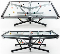 Transparent Glass Pool Table by Nottage Design Game Room Furniture, Cool Furniture, Table For Small Space, Small Spaces, Small Apartments, Billard Table, Club Sportif, Contemporary Games, Glass Pool