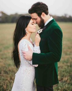 Kacey Musgraves and Ruston Kelly's Charming Tennessee Wedding | Martha Stewart Weddings - The bride loves velvet and emerald green, so much so that the groom found a green velvet jacket to wear for their elegant wedding ceremony. #weddingdresses #weddingideas #groomattire