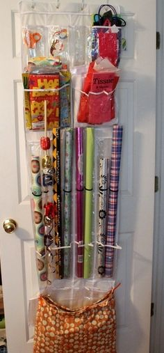 organize your wrapping paper and crafts with an over the door shoe rack