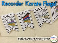 FREE recorder karate flags to display student growth! Great addition to any recorder karate classroom! Music Education Games, Music Activities, Teaching Music, Recorder Karate, Recorder Music, Drum Lessons, Music Lessons, Bucket Drumming, Middle School Music