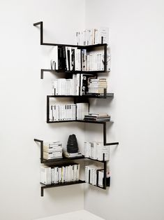 Corner Wall Shelves Design Ideas for Living Room 14 Creative Bookshelves, Corner Bookshelves, Corner Wall Shelves, Metal Shelves, Book Shelves, Pipe Bookshelf, Bookcases, Black Wall Shelves, Black Bookshelf