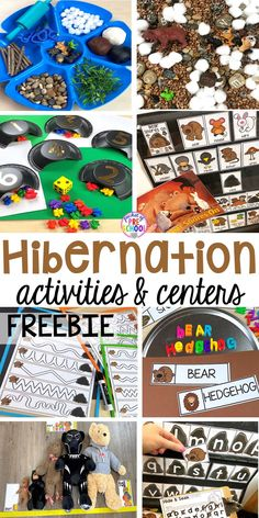 Hibernation centers and activities for preschool, pre-k, and kindergarten. Free pre-writing cards! #hibernantiontheme #wintertheme #preschool #prek #kindergarten Animal Activities, Kindergarten Activities, Preschool Activities, Animal Themes, Preschool Writing, Preschool Projects, Preschool Learning, Animal Crafts, Kindergarten Classroom