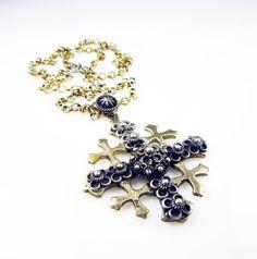Vintage Necklace Maltese Cross Jerusalem Sterling by zephyrvintage, $55.00