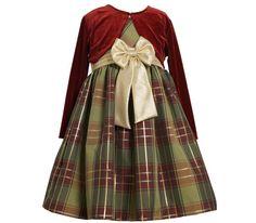 Girls Christmas Dress-  Shantung Plaid Gold Bow Jacket Dress