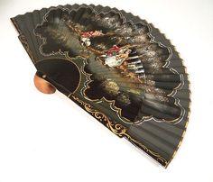 Antique Hand Fan Styles | Stunning 1930s - 40s Vintage Ladies Hand Held Fan - Renaissance Era ...