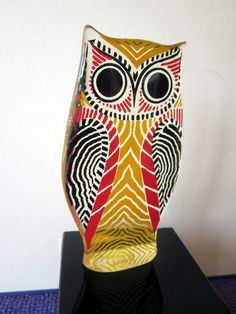 vintage pop art op art LUCITE OWL Brazil label  Abraham PALATNIK colorful red yellow black white