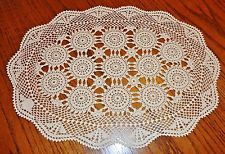 4 Beautiful Hand Crocheted Ecru Placemats Doilies 15 x 19.5