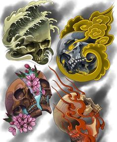 Japanese Snake Tattoo, Japanese Tattoo Designs, Japanese Sleeve Tattoos, Skull Tattoo Flowers, Skull Tattoos, Body Art Tattoos, Tattoo Sketches, Tattoo Drawings, Americana Tattoo