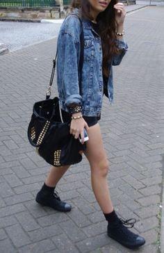 15aa00b078 denim jacket black shorts black bag studded bag flats black shoes bag  fashion tumblr basic black · High Top Converse ...