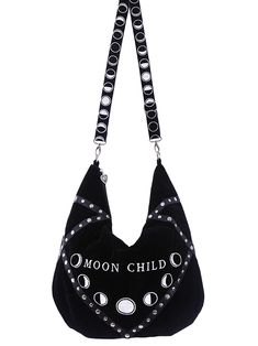 Sack Moon Child Black velvet Sack Bag, hobo bag, moon phases embroidery
