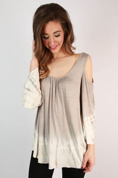 Comfortable Chic Tie Dye Top in Stone