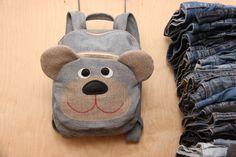 Denim backpack, bear backpack , upcycled denim backpack , jeans kids toddler backpack , funy backpack , denim bag , childrens backpack by SecondBirthday on Etsy