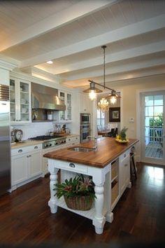 Tequesta Riverfront - traditional - kitchen - miami - PB Built. White open kitchen, industrial lighting, dark hardwood floors.