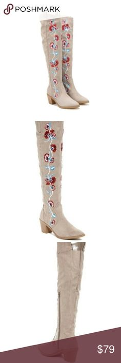 ✨SALE✨Carlos Santana Boots 7.5 Knee High Floral BIRTHDAY SALE! On sale until 2/26 🎂!  Selling a pair of Carlos by Carlos Santana Alexia Knee High boots in size 7.5. They are made of a beautiful faux tan/suede and feature embroidered flowers.  They are in NEW condition.  Ship out same day payment is received.  Thank you! Carlos Santana Shoes Over the Knee Boots